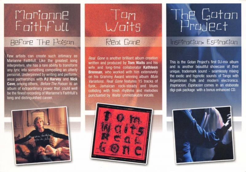 Advertising Postcard MUSIC Albums Marianne Faithfull Tom Waits The Gotan Project