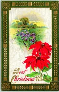 1912 Best CHRISTMAS Wishes Embossed Postcard Poinsettia Flowers / Meadow Scene