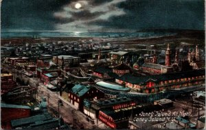 CONEY ISLAND AT NIGHT MOONLIGHT OVER THE OCEAN ARIAL VIEW ANTIQUE POSTCARD