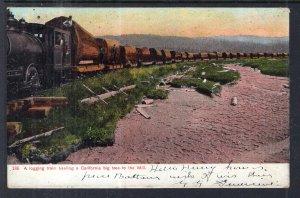 A Logging Train Hauling a A Claifornia Big Tree
