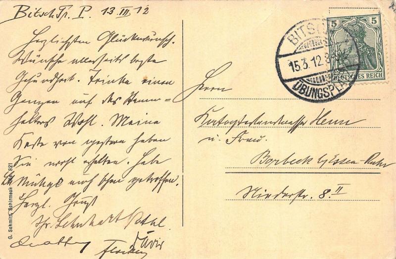 Gruss vom Ubungsplatz Bitsch Offizierkasino Post Arbeitskommando Postcard