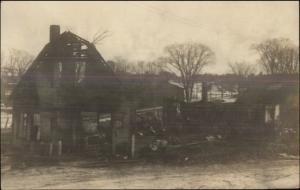 Norridgewock ME Stavely Garage Fire c1920s Real Photo Postcard