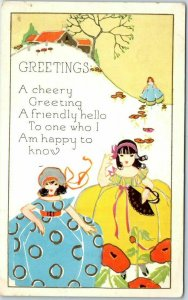 Embossed Greetings Postcard A Friendly Hello Girls Colorful Dresses UNUSED