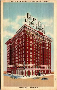 Postcard UT Utah Salt Lake City Hotel Newhouse Posted 1938 Linen