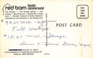 Bushnell FL Red Barn Campground RV's $93.60 per Month Postcard