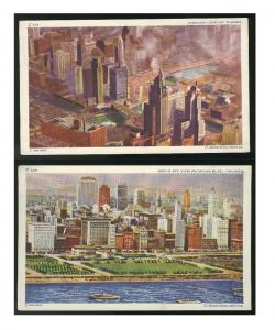 2 Aerial views Chicago IL City of Towers Michigan Blvd Vintage Postcards