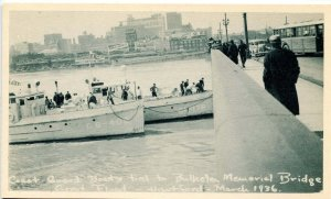 CT - Hartford. Great Flood, March 1936. Coast Guard Boats Tied to Bulkeley Br...