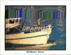 Postcard Modern Meilleus Wishes Boat