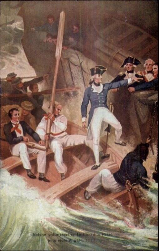 British Navy Lord Horatio Nelson BOARDING SHIP in STORM c1910 Postcard