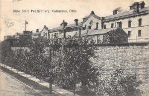 Columbus Ohio~Ohio State Penitentiary~High Brick Wall~Trees Along Road~1907 B&W