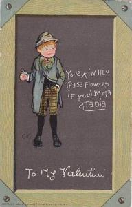 Wood framed, boy with flower in hand, Yous kin hev these flowers if youl be ...