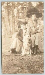 Vancouver BC~We Victorian Girls in the Woods~Merry Widow Hats~Dog~1911 RPPC