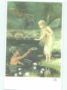 foreign Old Fantasy Postcard LARGE VAMPIRE BATS FLYING OVER FAIRY ANGEL AC2831