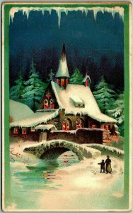 Vintage 1910s HOLD-TO-LIGHT Christmas Postcard / Lighted Church Windows / Bridge