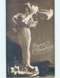 c1910 rppc risque PRETTY GIRL IN REVEALING DRESS WITH EASTER LILY FLOWERS HL1091