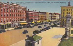 New Hampshire Concord Main Street Looking South Showing Capitol PLaza & Soldi...