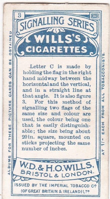 Cigarette Card  Wills Signalling Series No. 3 Letter C