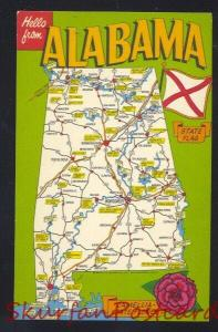 HELLO FROM ALABAMA STATE MAP POSTCARD