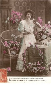 Pretty lady among flowers Nice antique French Greetings postcard
