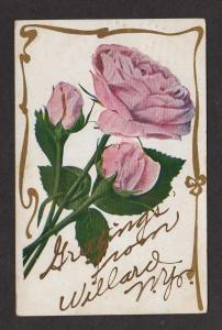 NY Greetings from WILLARD NEW YORK Postcard PC Roses