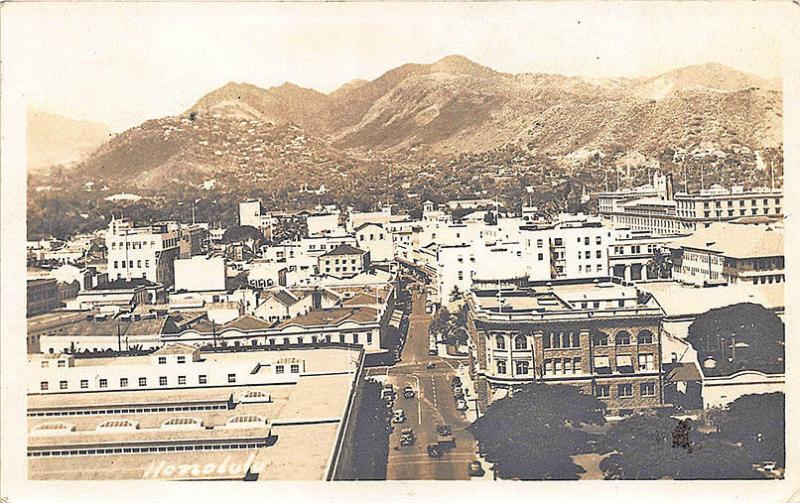Honolulu HI Aerial View, in 1942 RPPC Postcard