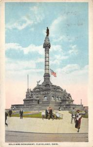Cleveland Ohio~People Walking Around Soldiers Monument~1921 Postcard
