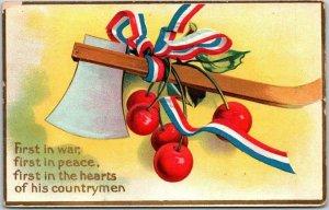 1911 Washington's Birthday Postcard First in War, First in Peace? Hatchet
