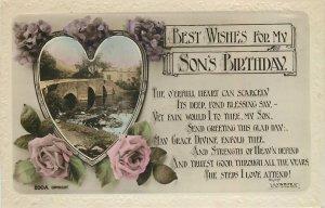 Postcard Greetings birthday flowers bridge river