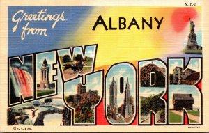 New York Greetings From Albany Large Letter Linen 1942 Curteich