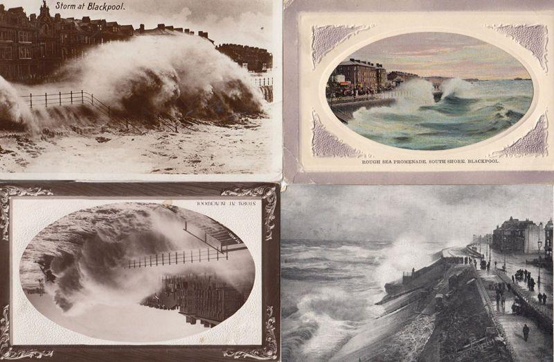 Storm At Blackpool Rough Sea Disaster 4x Antique Postcard s