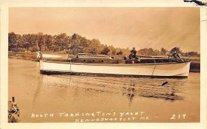Kennebunkport ME Booth Tarkington's Yacht Boat RPPC Postcard