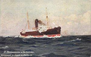 P. Henderson & Co's Shipping Line, Liverpool to Egypt & Rangoon, 1910 Postcard