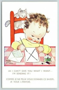 Mabel Lucie Atwell~Boy Sticks Out Tongue to Write~Sending Big X on Paper~Kitten