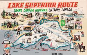 Map, Lake Superior Rt, Trans Canada Highway, Ontario, Canada, 1967