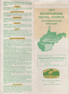 1971 Southern WV Brochure, Mountainaire Travel Council Accomodations Directory