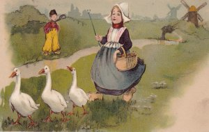 Dutch Girl Leads geese as boy watches from afar, Windmills, PU-1907