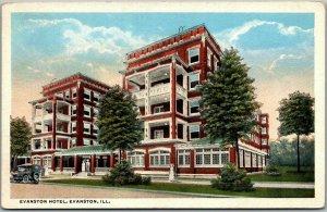 Evanston, Illinois Postcard EVANSTON HOTEL Building / Street View c1920s Unused