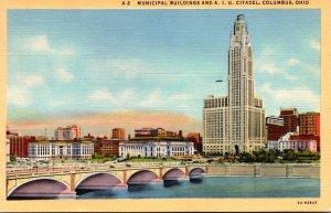 Ohio Columbus Municipal Buildings and A I U Citadel 1944 Curteich
