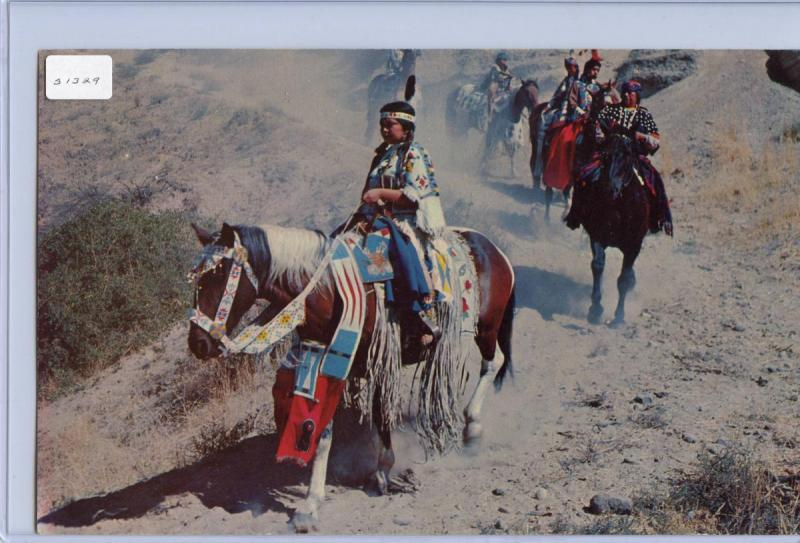 Indians on the Trail (JUMBO Postcard 8.5 X 5.5). Label is attached to sleev...