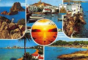 Spain Ibiza Islas Baleares Harbour Boats Promenade Beach Sunset Postcard