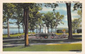 City Park, Rice Lake, Wisconsin, Early Linen Postcard, Unused