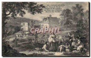 Postcard Old Saint Cloud Le Parc de St Cloud before the Revolution Park to Ch...