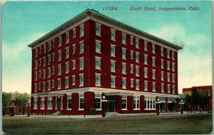 1910s Independence, Kansas Postcard BOOTH HOTEL Street View Acmegraph Unused