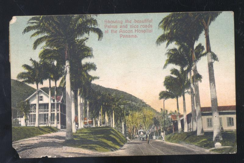 PANAMA CANAL ZONE ANCON HOSPITAL STREET SCENE VINTAGE POSTCARD NICE STAMP