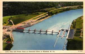 West Virginia Winfield Lock Dam and Power Plant On Kanawha River 1941 Curteich