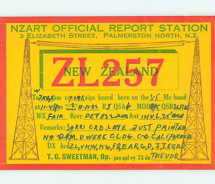 1932 vintage QSL CB HAM RADIO CARD Palmerston North NEW ZEALAND s0384
