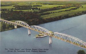 Kentucky Delta Queen and George Rogers Clark Bridge Across The Tennessee Rive...