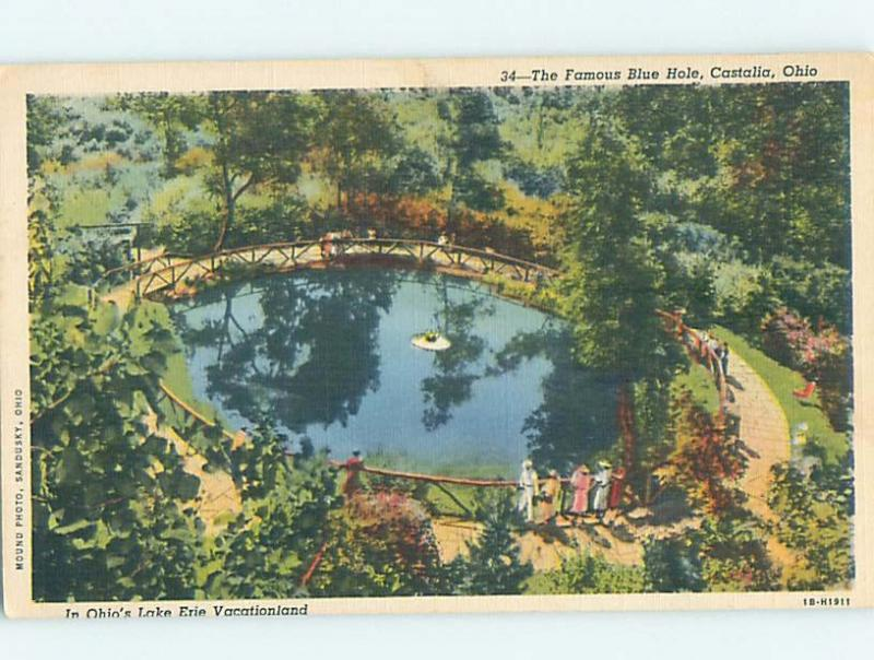 Linen POSTCARD FROM Castalia - Near Sandusky Ohio OH HM9721