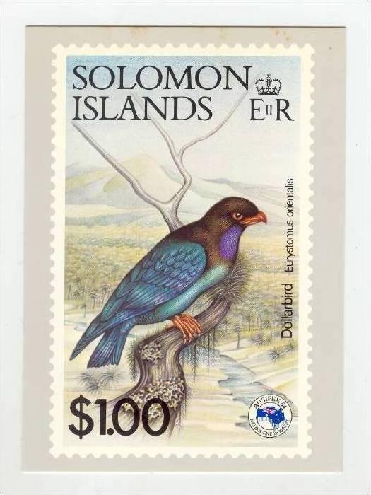Solomon Islands Stamp postcard, Dollar Bird, 1983