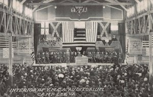 Interior of Y.M.C.A. Auditorium, Camp Lee, VA., Early Postcard, Unused